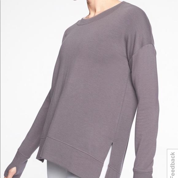 Athleta Coaster Luxe Sweatshirt Silver Bells//Gray  Yoga Top Women Size XXS  New
